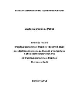 Smernica o splnani podmienok pre obhajobu BP