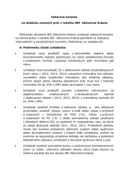 Výberové konanie na dodávku zemných prác v lokalite IBV