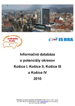 Informačná databáza o potenciály okresov Košice I