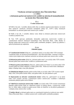 VZN č. 1/2014 obce Štiavnické Bane o dočasnom parkovaní