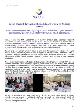 Desiati študenti farmácie získali edukačné granty od