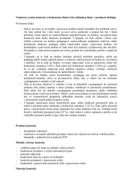 Vnútorný systém kontroly a hodnotenia žiakov/čok