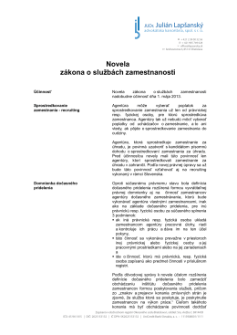 Novela zákona o službách zamestnanosti