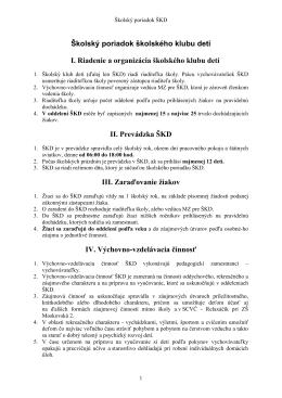 Školský poriadok ŠKD