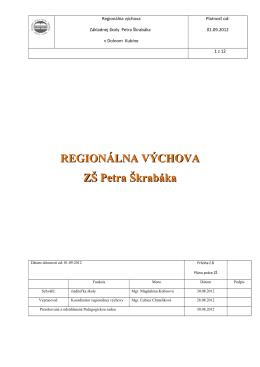 Plán koordinátora regionálnej výchovy