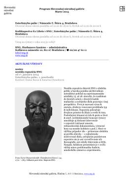 Program Slovenskej národnej galérie na mesiac