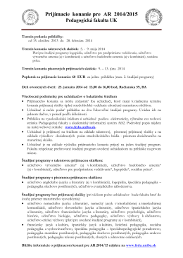Pedagogická fakulta UK v Bratislave