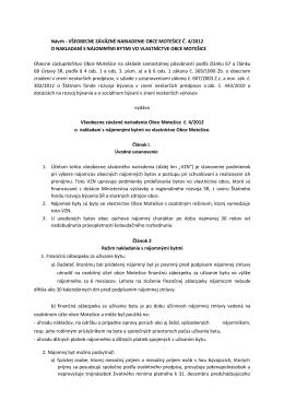 VŠEOBECNE ZÁVÄZNÉ NARIADENIE OBCE MOTEŠICE Č. 4/2012