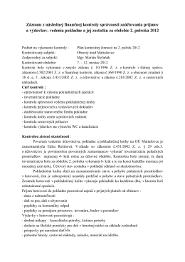 Záznam z kontroly pokladne za 2.polrok 2012