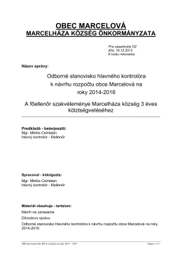 Stanovisko HK k návrhu R 2014-2016 MARCEL