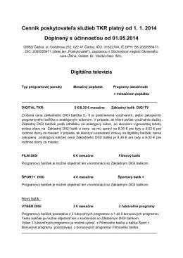 Cenník poskytovateľa služieb TKR platný od 1. 1