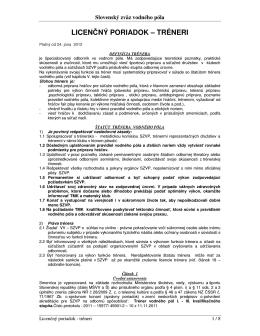 Licenčný poriadok SZVP - Tréner (platná od 24.6.2012)