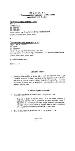 DODATOK č. 5 - Ústav experimentálnej endokrinológie, SAV