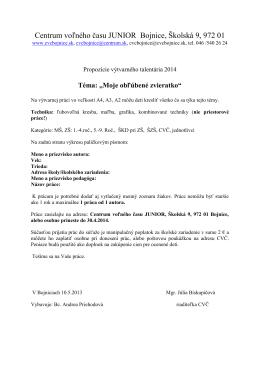 Centrum voľného času JUNIOR Bojnice, Školská 9, 972 01