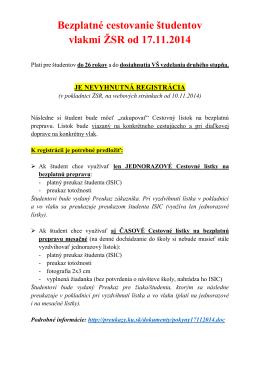 Bezplatné cestovanie študentov vlakmi ŽSR od 17.11.2014