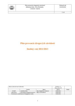 Plán koordinátora primárnej prevencie