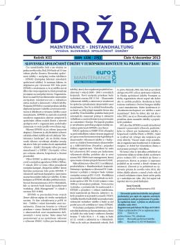 ÚDRŽBA č. 4/2013 - Slovenská spoločnosť údržby