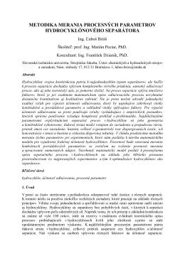 metodika merania procesných parametrov hydrocyklónového