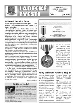 Jún 2010 - Aktuality obce Ladce