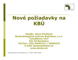 Nové požiadavky na KBÚ - Go