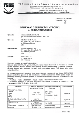 Certifikát Nansulate