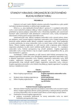 stanovy krajskej organizácie cestovného ruchu