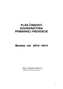 plán činnosti koordinátora primárnej prevencie