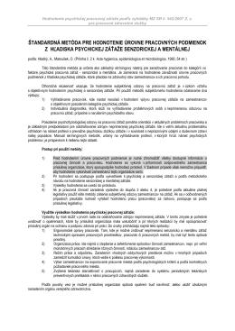 štandardná metóda pre hodnotenie úrovne pracovných