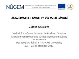Ukazovatele kvality vo vzdelávaní | Juščáková Zuzana