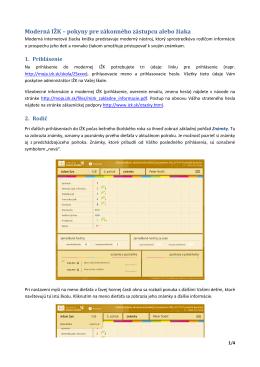 Moderná IŽK – pokyny pre zákonného zástupcu alebo žiaka