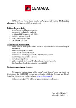 Obchodný zástupca ponuka práce na www.cemmac.sk.sk