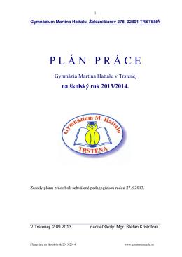 Plán práce na školský rok 2013/2014