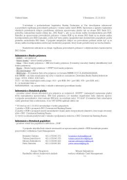 Informácia pre klientov týkajúca sa platieb v RUB