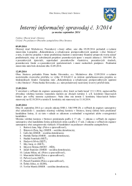 Interný informačný spravodaj č. 3/2014