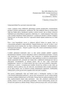 Výzva na zachovanie činnosti Rady vlády pre ľudské práva