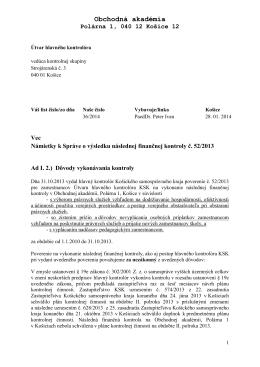 Námietky k Správe z kontroly č