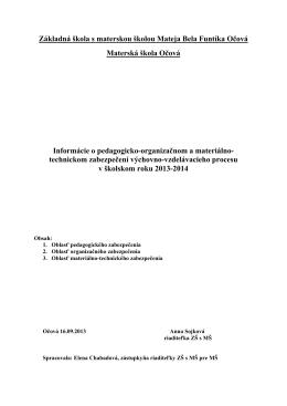 Informácie PMZ 2013-2014