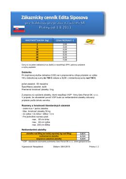 Dobierka Rozmery a hmotnosti štandardných