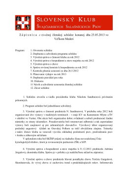 Zápisnica zo schôdze SKŠSP zo dňa 25.05.2013