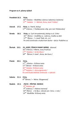 Program na 4. pôstny týždeň Pondelok 16.3. Féria