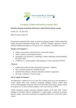 Európsky týždeň udržateľnej energie 2013