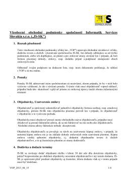 Všeobecné obchodné podmienky spoločnosti Informatik - IS