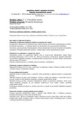 Divadelná dramaturgia - Fakulta dramatických umení Akadémie