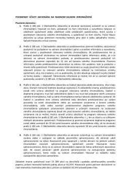 Podmienky účasti akcionára na RVZ
