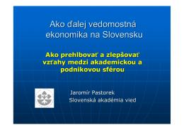 Jaromír Pastorek, predseda, Slovenská akadémia vied