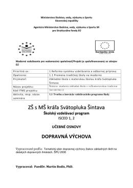 Dopravná výchova - ZŠ s MŠ kráľa Svätopluka Šintava