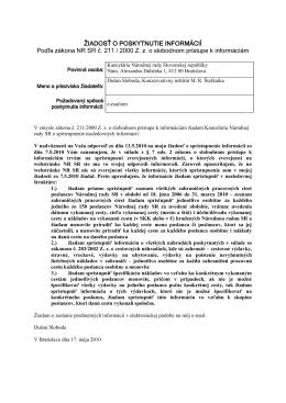 Doplnená žiadosť KI o informácie od Kancelárie NR SR