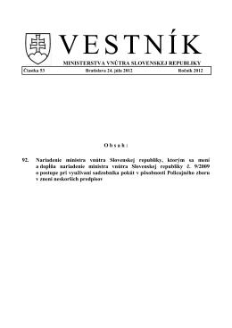 92. Nariadenie ministra vnútra Slovenskej republiky