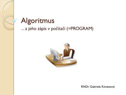 Algoritmus a spôsoby jeho zápisu