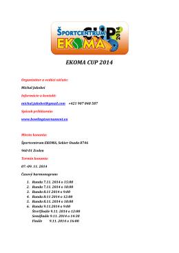Propozície EKOMA CUP 2014